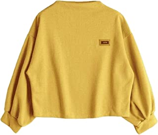 Womens Casual Long Sleeve Fashion Loose Knitted Sweater Pullover Sweater Top