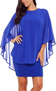 SEBOWEL Women's Chiffon Overlay Ruffle Sleeve Party Cocktail Bodycon Mini Dress
