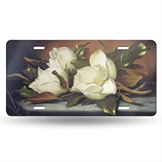 YongColer Novelty Auto Car Tag Vanity Gift, High Gloss Metal License Plate, Giant Magnolias Flowers Painting Decorative Car Front License Plate Reinforce License Plates for Car Truck Trailer