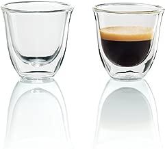 De'Longhi 5513214591 - Juego de vasos para Espresso, 2 unidades, 60 ml, apto para lavavajillas, pared doble vidrio templado, transparente