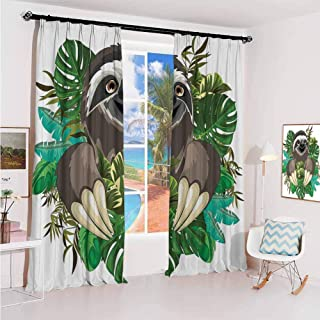 GUUVOR Sloth Sun Protection Insulated Bedroom Living Room Curtain Cartoon Mammal on Tropical Jungle with Green Banana Leaves Cute Character 2 Panels W52 x L63 Inch Chocolate Green Ivory