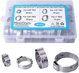 PEX Cinch Clamp 3/8-inch, 1/2-inch, 3/4-inch, 1-inch, 304 Stainless Steel, 90PCS Hose Clamp Kit, Single Ear Stepless Clip Rings PEX Pipe Assorted Kit (90 PCS)