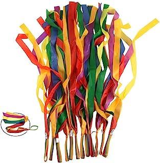 نوارهای رقص رنگین کمان ، LANREN 12PCS ریتم های نوار ریتم برای کودکان و نوجوانان کودکان بزرگسال - روشن و چند رنگ