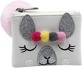 Cartoon Rabbit Furry Ball Mini Coin Purse Cute Wallet Mermaid Handbag for Women Girls Kids