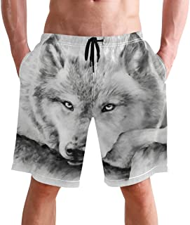 FFY Go Beach Shorts, Vintage Wolf Printed Mens Trunks Swim Short Quick Dry with Pockets for Summer Surfing Boardshorts Out...