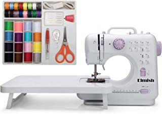 Elmish Sewing Machine (12 Stitches, 2 Speeds, Foot Pedal, LED Sewing Light) - Electric Overlock Sewing Machines - Small Household Sewing Handheld Tool EM-007-F