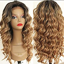 PlatinumHair Lace Front Wigs Long Curly Wave Synthetic Wigs for Black Women Ombre Blonde Wig Heat Resistant Fiber Hair 180% Density Ombre Brown Loose Wavy Wigs