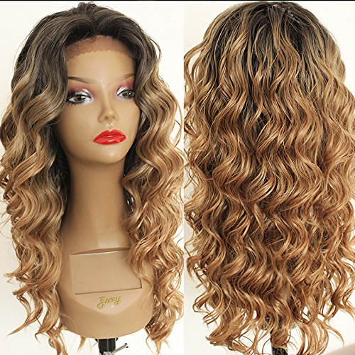 """PlatinumHair Ombre Blonde Loose Curly Wigs Synthetic Lace Front Wigs Heat Resistant Glueless Synthetic Wigs 24"""""""