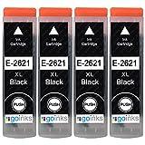 4 Cartuchos de Tinta Negra para reemplazar Epson T2621 (26XL) Compatible/no OEM para impresoras Epson Expression Premium.