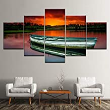 HPPTON Prints On Canvas Canvas Painting Wooden Boat In River Sunset 5 Pieces Wall Art Painting Modular Wallpapers Poster Print Living Room Home Decor-12x16/24/32inch,Without frame
