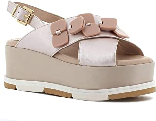 Pierfrancesco Vincenti Made in Italy Donna Sandalo in Pelle con Zeppa (Beige)