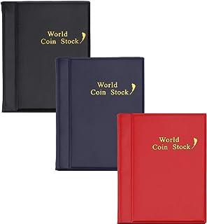 Hileyu 3 Pcs Album de Collection de pièces 120 Poches Dossiers de pièces Porte-Monnaie Livre Album de Stockage de pièces M...