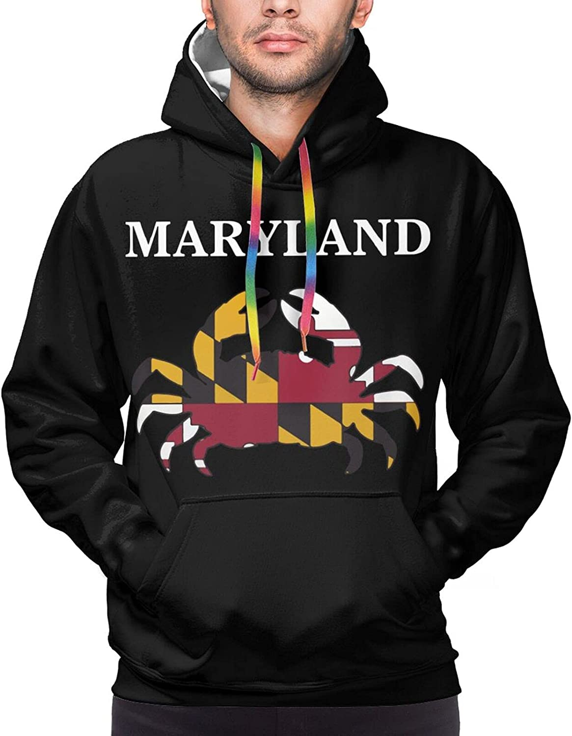 Hoodie For Men Women Unisex Maryland State Maryland Flag Crab Pullover Hooded Sports Sweatshirt