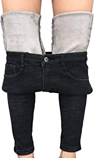 Womens Winter Jeans Thick Skinny Pants Fleece Lined Slim Stretch Warm Jeggings