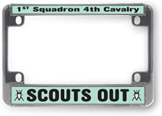 Sign Destination Metal Bike License Plate Frame 1st Squadron 4th Cavalry Scouts Out Motorcycle Tag Holder Chrome 4 Holes One Frame