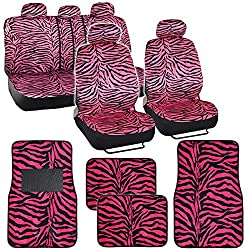 Hot Pink Zebra Seat Covers and Floor Mats Set