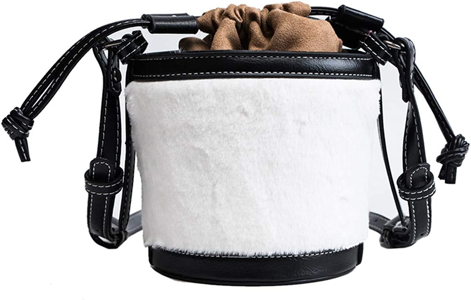 H-M-STUDIO Bag Personality Hair Bucket Port Style Fashionable Shoulder Bag. White 15  14  13Cm