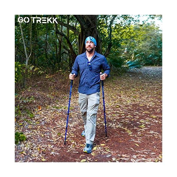 GO TREKK 2 Bastones de Senderismo Profesionales 60~135 cm+ Accesorios múltiples + Bandana Deportiva,Trekking Poles… 1