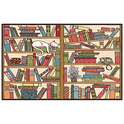 Kids Soft Rugs for Living Room Cat,Nerd Book Lover Kitty Sleeping Over Bookshelf in Library Academics Feline Cosy Boho Design,Multi Childs Home Decor Floor Carpet