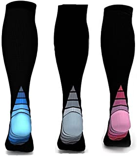 3 Pairs Compression Socks Men Women Athletic Running Travel Flight 20-30 mmHg