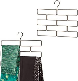 mDesign Modern Metal Closet Rod Hanging Accessory Storage Organizer Rack for Scarves, Ties, Yoga Pants, Leggings, Tank Tops - Snag Free, Geometric Design, 8 Sections, 2 Pack - Bronze