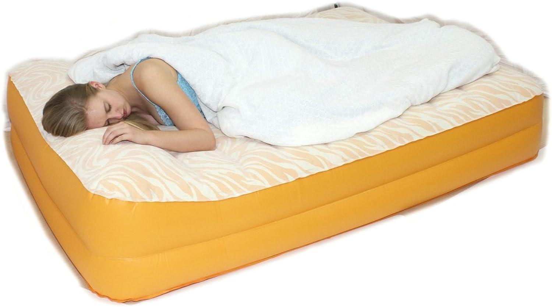 AirCloud PAB-501 Safari 14-Inch High Butterscotch Vanilla Safari Print Inflatable Air Bed, Full