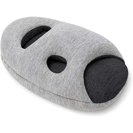 Ostrichpillow Mini - Cuscino da viaggio | Cuscino per aereo, cuscino da viaggio per auto, ufficio, poggiatesta | Accessori da viaggio per poggiamani e braccioli (Grigio mezzanotte)