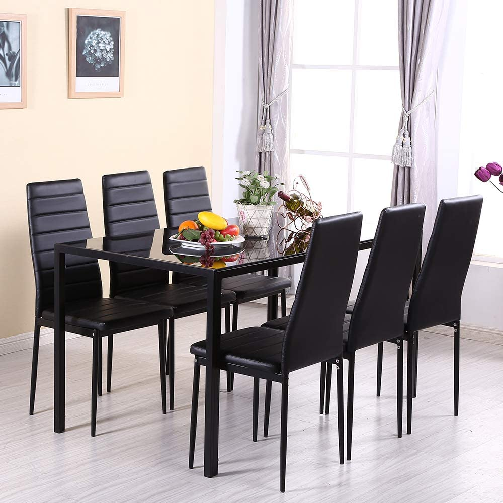 OUTDOOR DOIT High Gloss Dining Table Set with 9 PU Leather Chairs ...