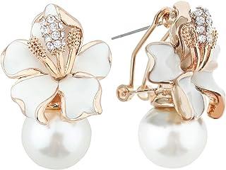 Mecool Pendientes de gota con diseño de pétalos y perlas de imitación, con incrustaciones de circonita cúbica, color blanco