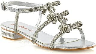 Womens Sandals Diamante Open Toe Sparkly Bow Straps Shoes