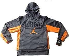 Nike Air Jordan Boys Therma Fit Hoodie Sweater Dark Grey Orange