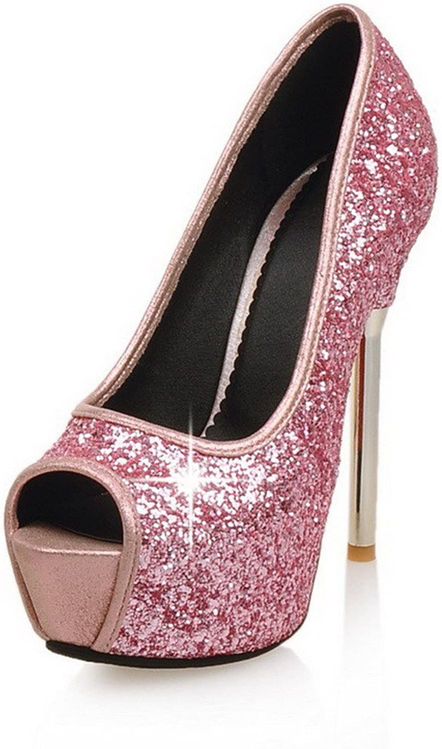 AllhqFashion Women's Peep Toe Pull On Sequins Assorted color Spikes Stilettos Sandals