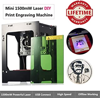 MYSWEETY 1500mW Laser Engraver Machine, DIY USB Mini Engraving Machine, Laser Engraving Machine CNC Router Cutting Carver Off-line Operation for Art Craft Science, High Speed Laser Engraving Cutter