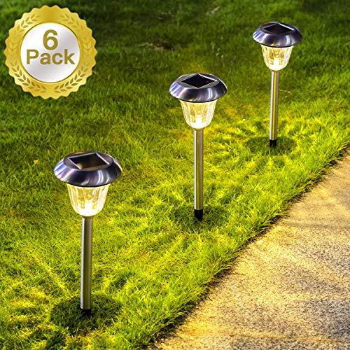 SUNWIND Solar Lights Outdoor, 6 Pack Stainless Steel Outdoor Solar Garden Lights Path Lighting for Pathway Walkway Patio Yard & Lawn Decoration