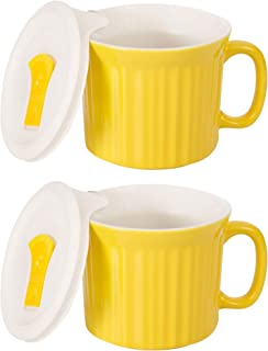 CorningWare Colours Pop-Ins 20-oz Soup Mug Vented Lid - 2 Pack (Curry)