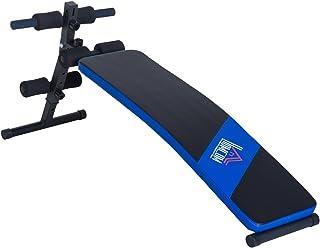 HOMCOM Carga 110kg Banco de Musculación Banco Abdominal Pesas Ajustable a 4 Niveles para Fitness Entrenamiento Acero