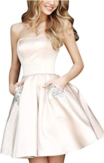 Strapless Prom Dresses Short Satin Homecoming Cocktail Party Gowns With Pockets For Women