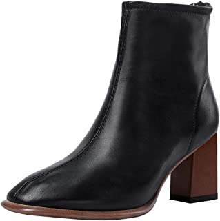 Nine Seven Leather Women's Classic Square Toe Mid Chunky Heel Handmade Zip Up Concise Ankle Boots