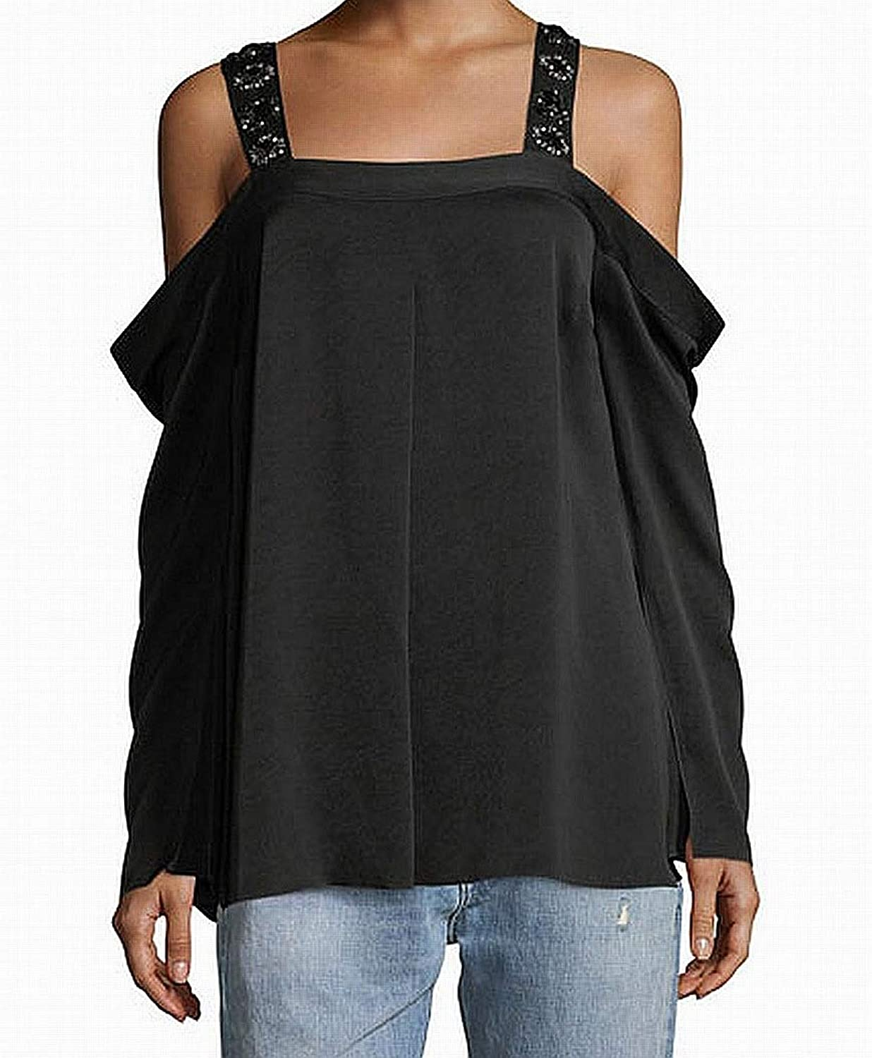 Elizabeth and James Womens Yera Emb Cold Shoulder Club Wear Blouse