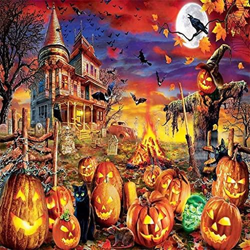 Halloween Jigsaw Puzzle for 1000 Piece,Halloween Horror Pumpkin-Art DIY Leisure Game Fun...