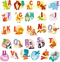 HUABEI Wall Decals Kids Animal Alphabet ABC Baby Wall Sticker Removable Vinyl Mural Peel & Stick Large Educational Letters for Bedrooms Playrooms & Baby Nursery Wall Décor Art