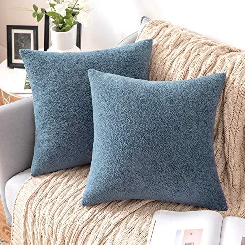 MIULEE 2 Unidades Fundas de cojín para sofá Almohada Caso de Diseño Compuesto de Polar Fleece Cómodo Decoración para Habitacion Juvenil Sofá Comedor Cama Dormitorio Oficina 45 x 45cm Azúl Celeste