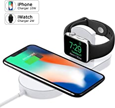Watch Charger, Phone Wireless Charger Replacement, Ultra-Thin 2 in 1 Qi Charging Pad Stand Compatible Watch Series 1/2/3 Phone X Phone 8/8Plus Samsung Galaxy Note