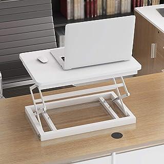 DUXX 折りたたみ可能なラップトップデスク、スタンドアップコンピュータデスク、オフィスデスク、モバイルワークベンチ コンピュータースタンド (色 : 白, サイズ さいず : 50*37cm)