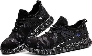 Letuwj Chaussures de sécurité unisexes avec coque en acier - Chaussures de travail légères