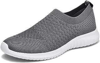 konhill Men's Athletic Walking Shoes - Lightweight Casual Knit Slip on Sneakers