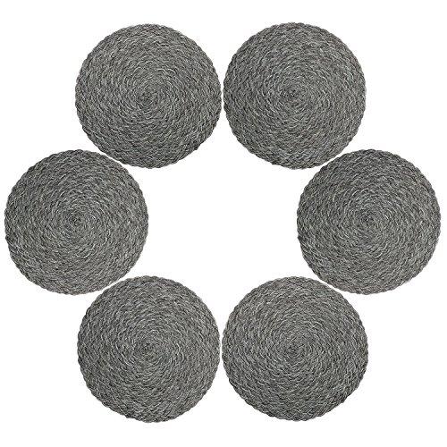 Juego de 6 manteles individuales de polipropileno trenzado con forma