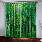 wqmdeshop Curtains Super Soft Blackout Beautiful Fresh Green Bamboo 3D Black Silk Fabric Thermo-Insulated Eyelet Curtains 180(H) x125(W) Cmx2
