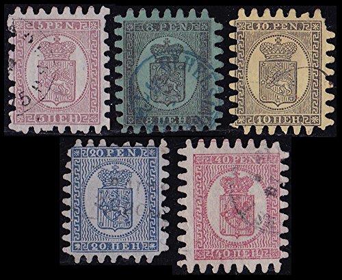 Goldhahn Finnland Nr. 5-9 gestempelt Zungen Bedarferhaltung Briefmarken für Sammler