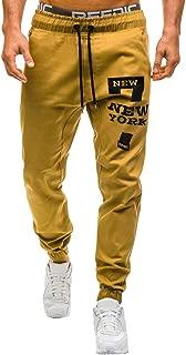 YAYUMI Men Sweatpants Slacks Casual Elastic Joggings Sport Print Baggy Pockets Trousers